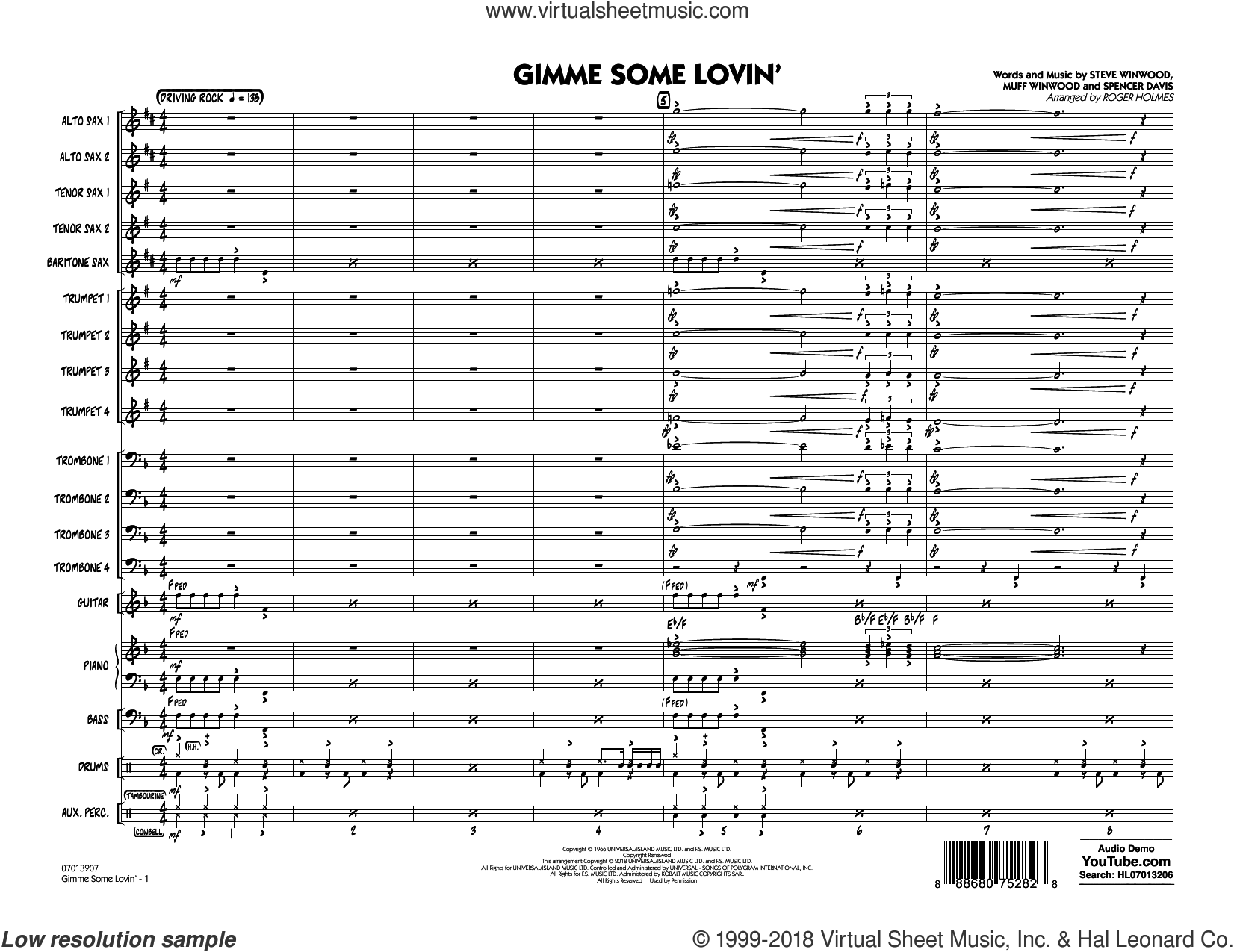 Gimme Some Lovin' (COMPLETE) sheet music for jazz band by Roger Holmes, Muff Winwood, Spencer Davis, Steve Winwood and The Spencer Davis Group, intermediate skill level
