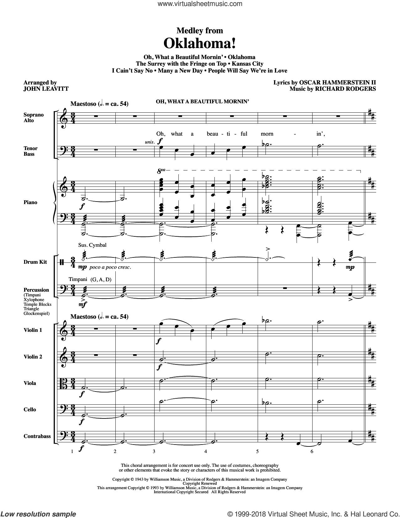 Oklahoma! (Medley) (arr. John Leavitt) (COMPLETE) sheet music for orchestra/band by Richard Rodgers, John Leavitt, Oscar II Hammerstein and Rodgers & Hammerstein, intermediate skill level
