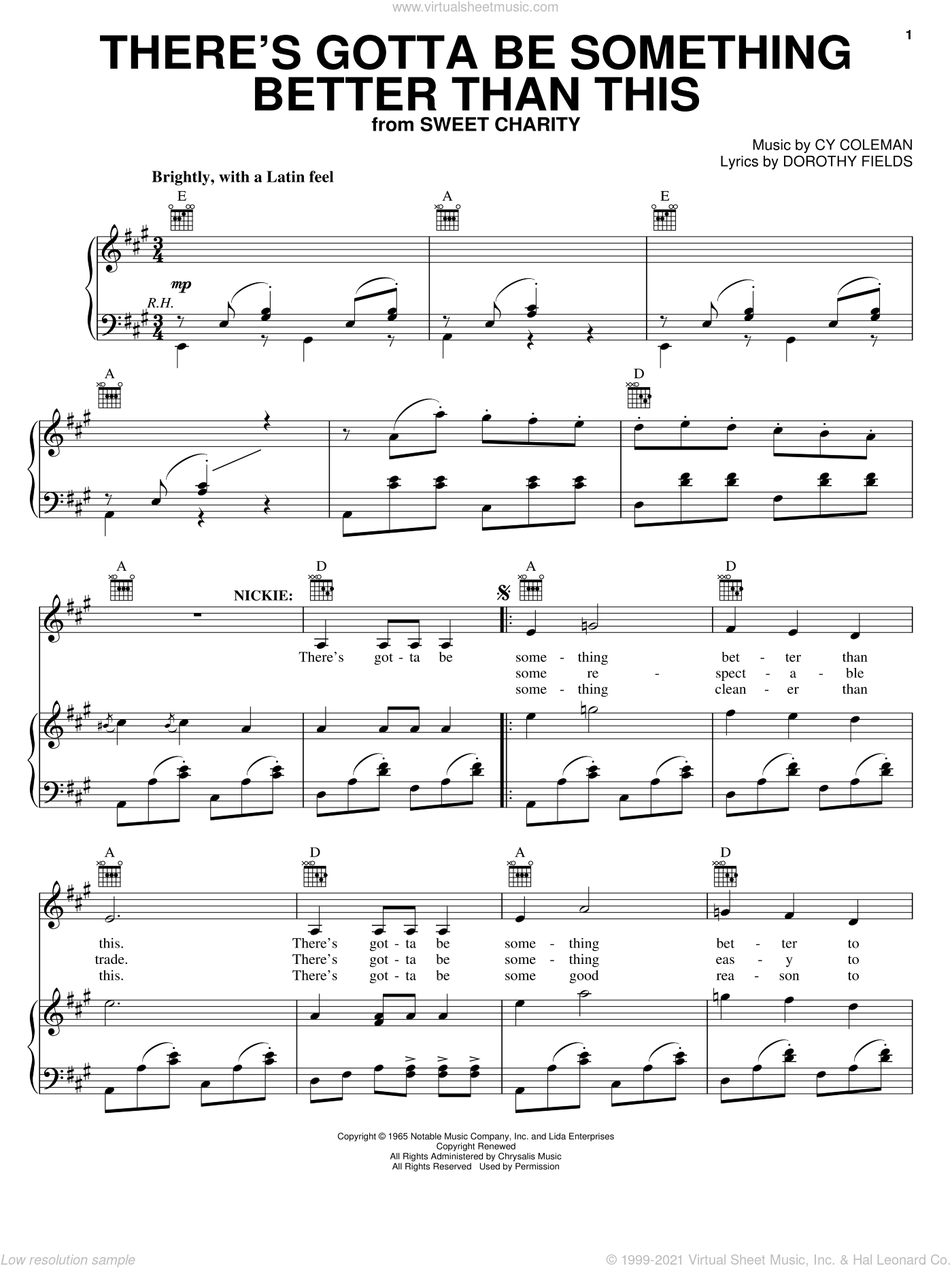 There's Gotta Be Something Better Than This sheet music for voice, piano or guitar by Cy Coleman, Sweet Charity (Musical) and Dorothy Fields, intermediate skill level