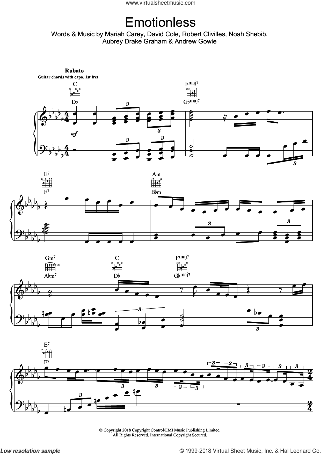 Emotionless sheet music for voice, piano or guitar by Drake, Andrew Gowie, Aubrey Drake Graham, David Cole, Mariah Carey, Noah Shebib and Robert Clivilles, intermediate skill level