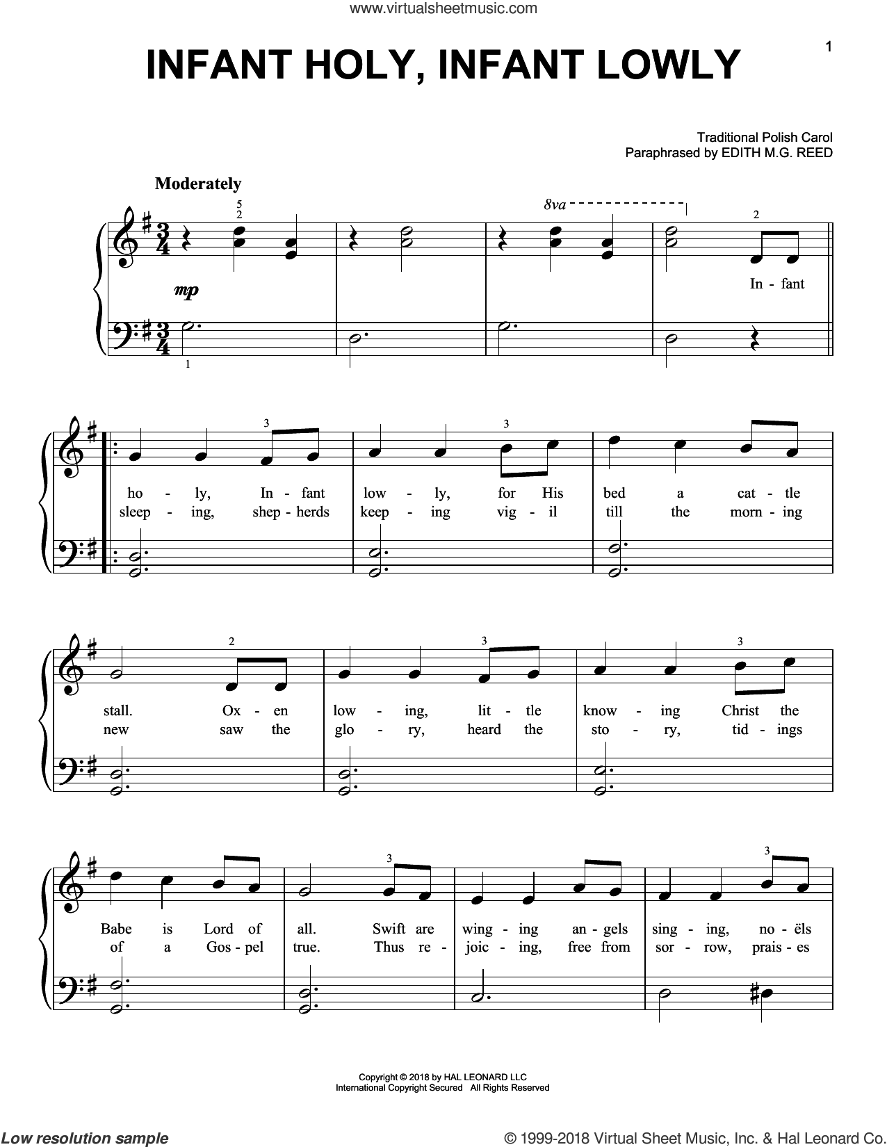 Infant Holy, Infant Lowly sheet music for piano solo by Edith M.G. Reed and Miscellaneous, beginner skill level