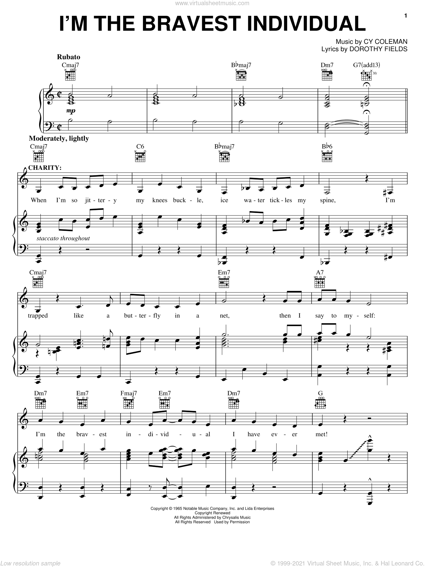I'm The Bravest Individual sheet music for voice, piano or guitar by Cy Coleman, Sweet Charity (Musical) and Dorothy Fields, intermediate skill level