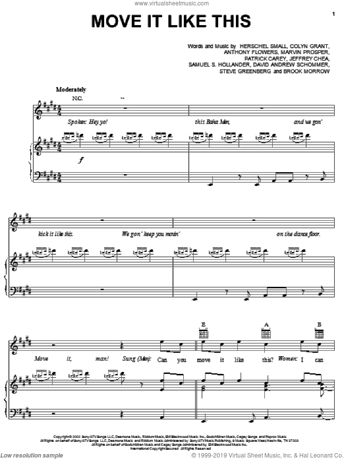 Move It Like This sheet music for voice, piano or guitar by Herschel Small and Baha Men. Score Image Preview.
