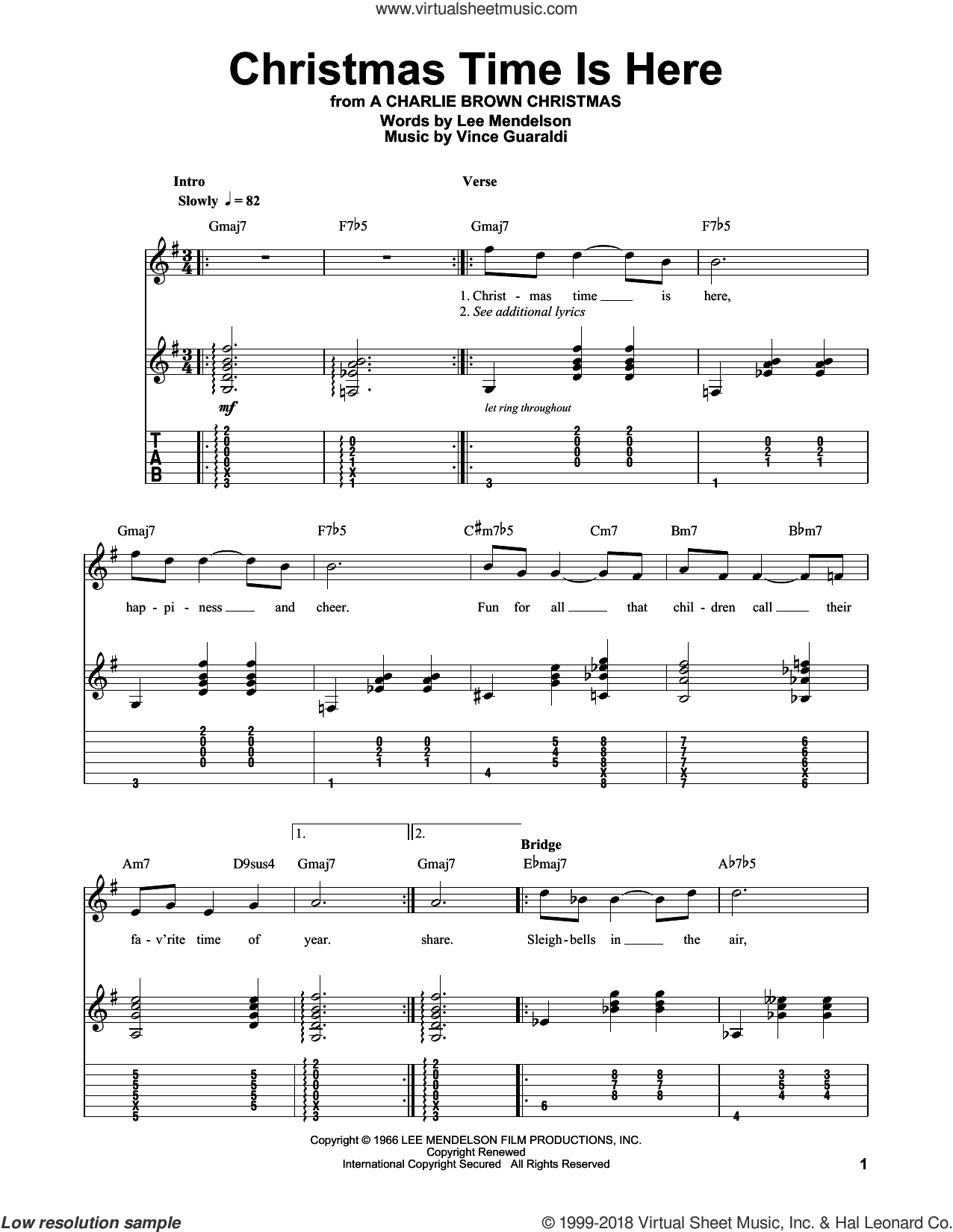 Christmas Time Is Here sheet music for guitar (tablature, play-along) by Vince Guaraldi and Lee Mendelson, intermediate skill level