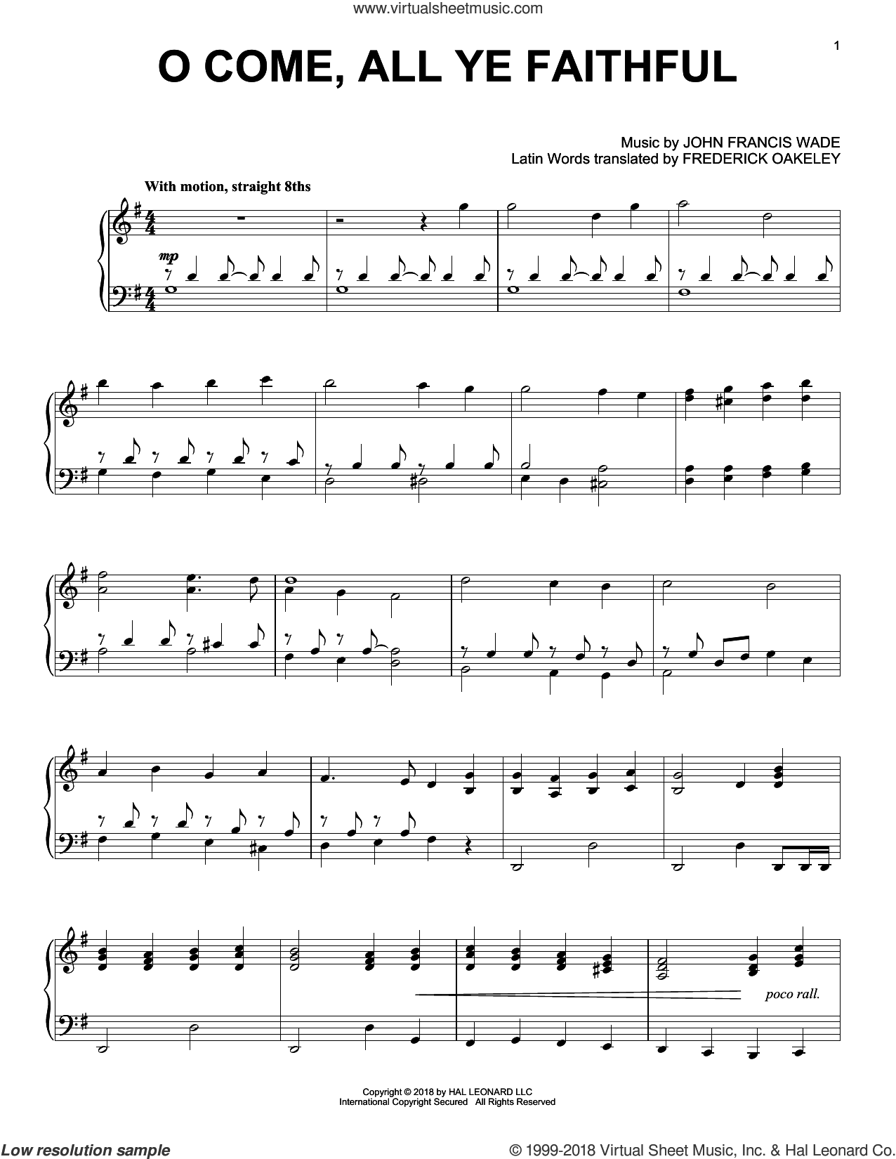 O Come, All Ye Faithful [Jazz version] sheet music for piano solo by John Francis Wade and Frederick Oakeley (English), intermediate skill level