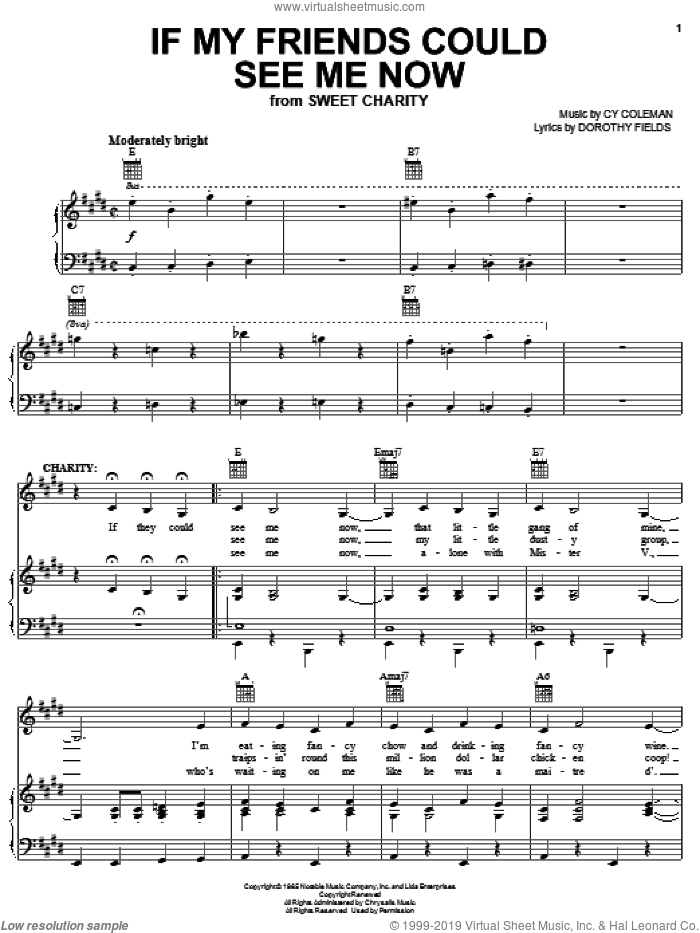 If My Friends Could See Me Now sheet music for voice, piano or guitar by Cy Coleman, Sweet Charity (Musical) and Dorothy Fields, intermediate skill level