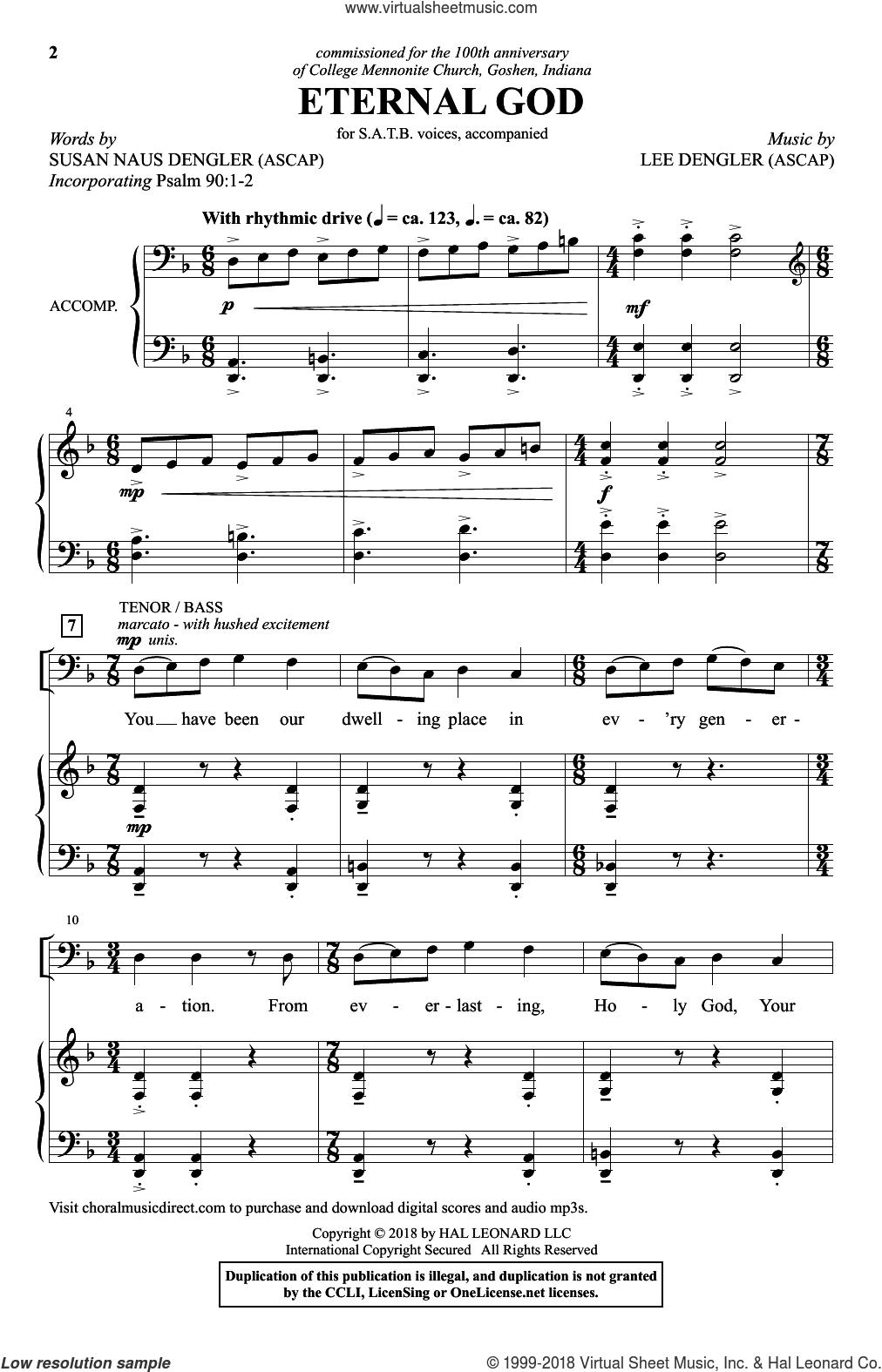 Eternal God sheet music for choir (SATB: soprano, alto, tenor, bass) by Lee Dengler and Susan Naus Dengler, intermediate skill level