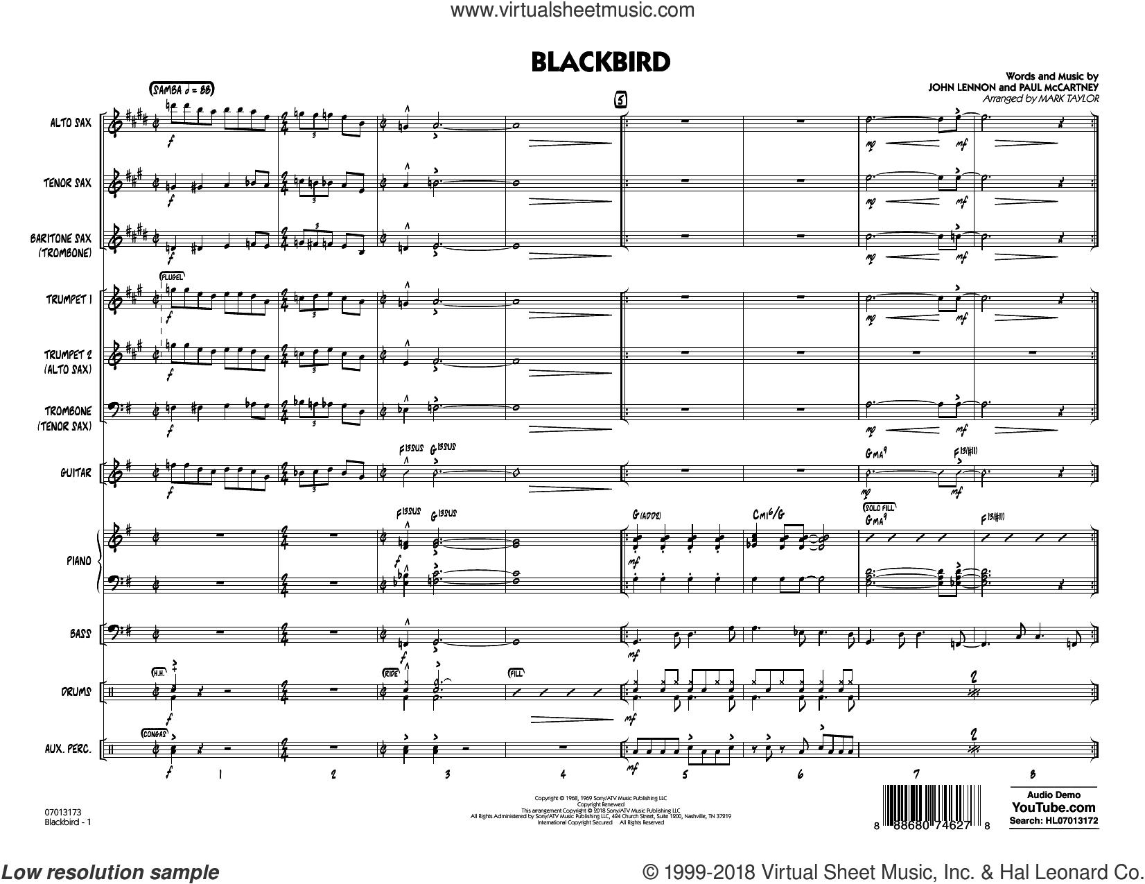 Blackbird (COMPLETE) sheet music for jazz band by The Beatles, John Lennon, Mark Taylor, Paul McCartney and Wings, intermediate skill level