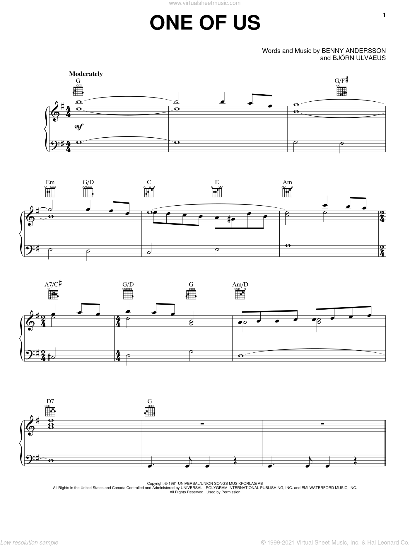 One Of Us (from Mamma Mia! Here We Go Again) sheet music for voice, piano or guitar by ABBA, Benny Andersson and Bjorn Ulvaeus, intermediate skill level