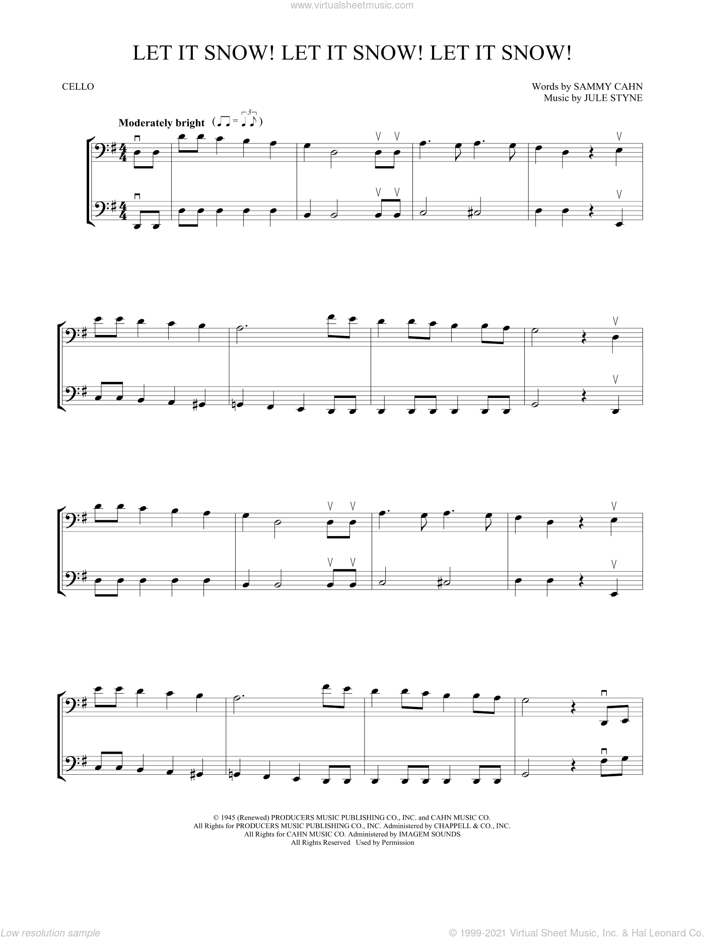 Let It Snow! Let It Snow! Let It Snow! sheet music for two cellos (duet, duets) by Sammy Cahn and Jule Styne, intermediate skill level