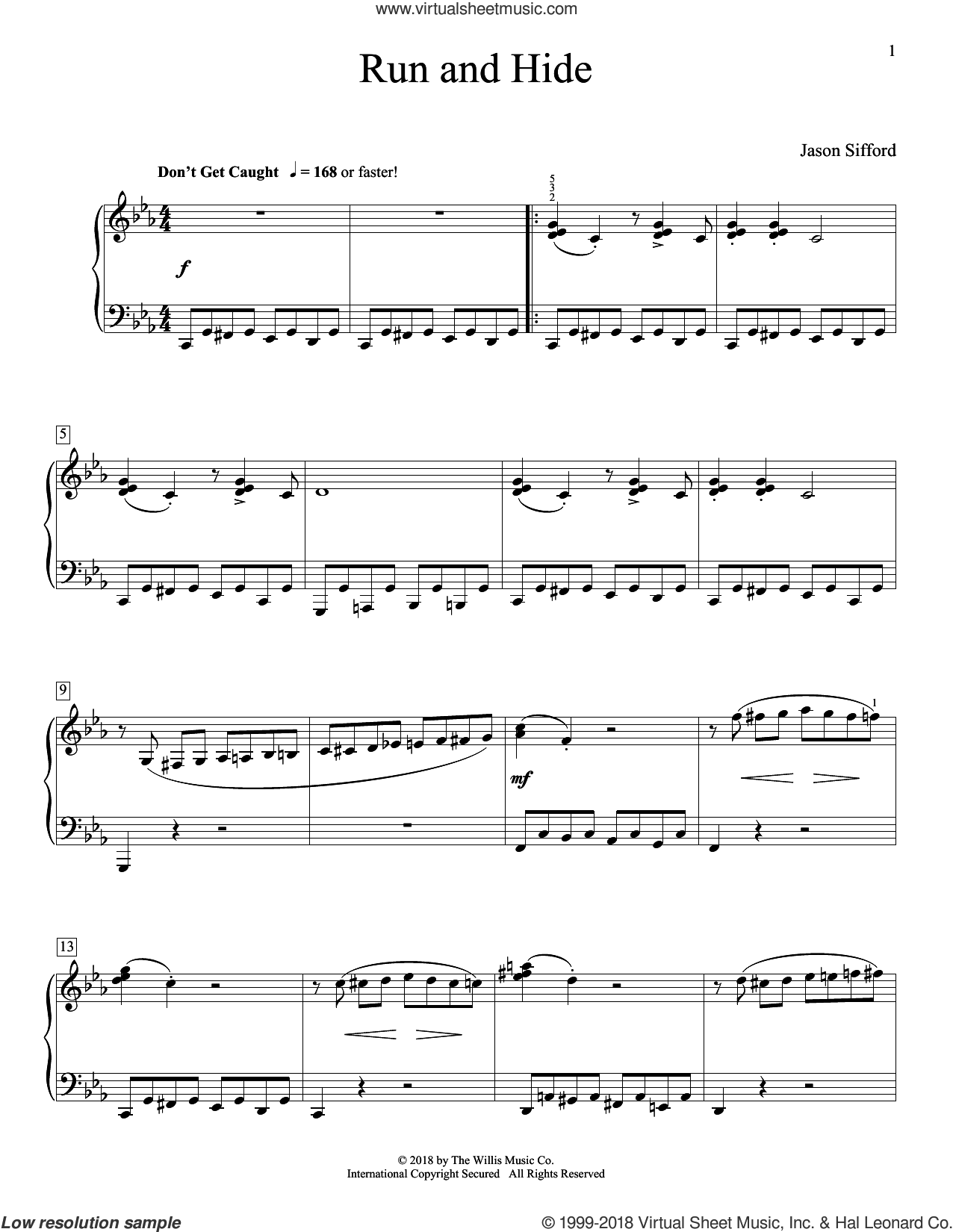Run And Hide sheet music for piano solo (elementary) by Jason Sifford, beginner piano (elementary)