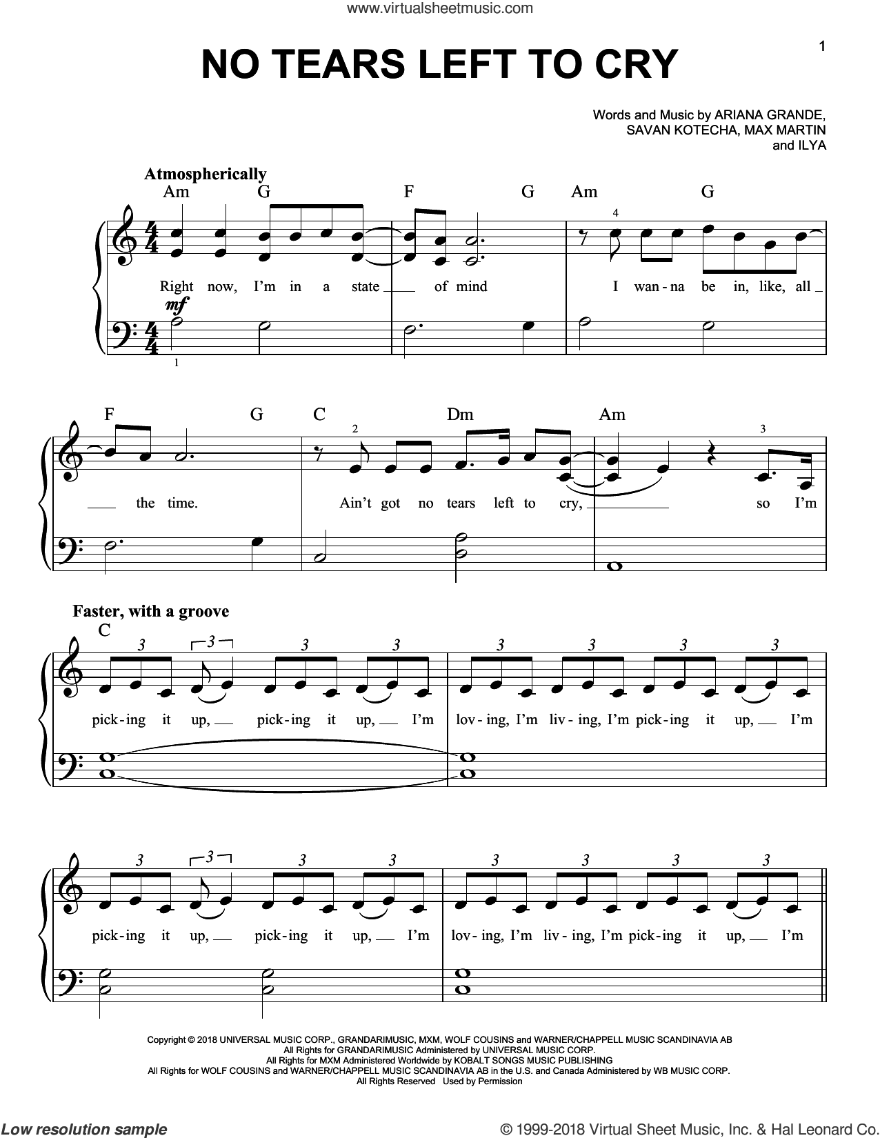 No Tears Left To Cry sheet music for piano solo by Ariana Grande, Ilya, Max Martin and Savan Kotecha, easy skill level