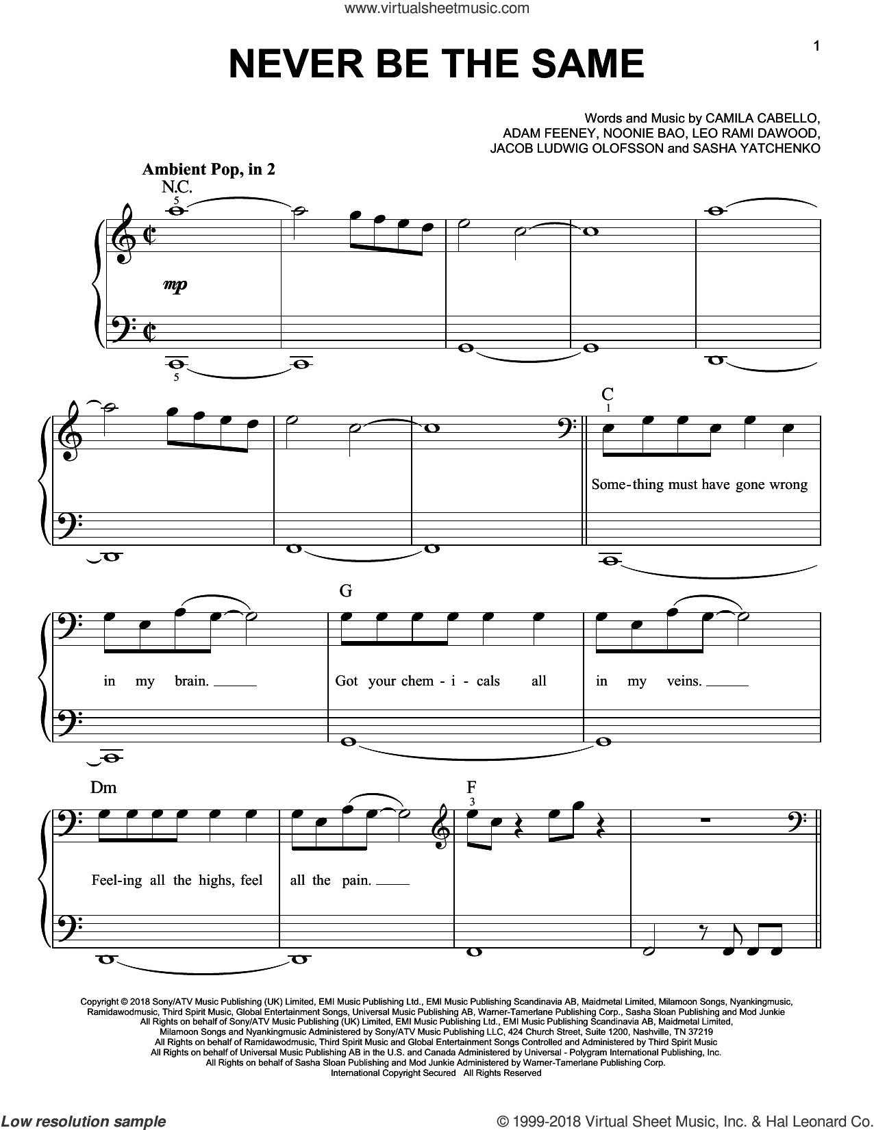 Never Be The Same sheet music for piano solo by Camila Cabello, Adam Feeney, Jacob Ludwig Olofsson, Leo Rami Dawood and Noonie Bao, easy skill level