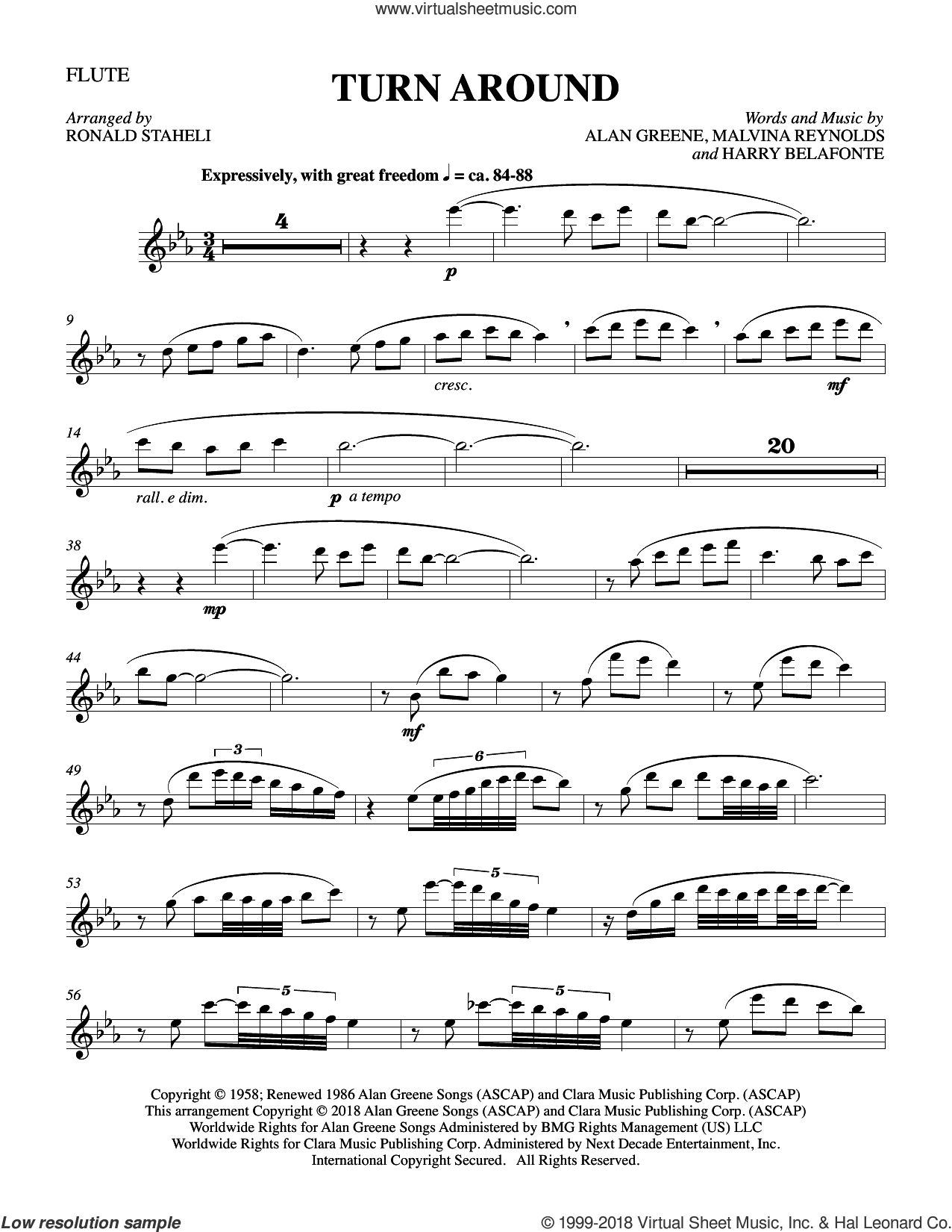 Turn Around (arr. Ronald Staheli) sheet music for orchestra/band (flute) by Malvina Reynolds, Harry Belafonte, Sonny & Cher and Alan Greene, intermediate skill level