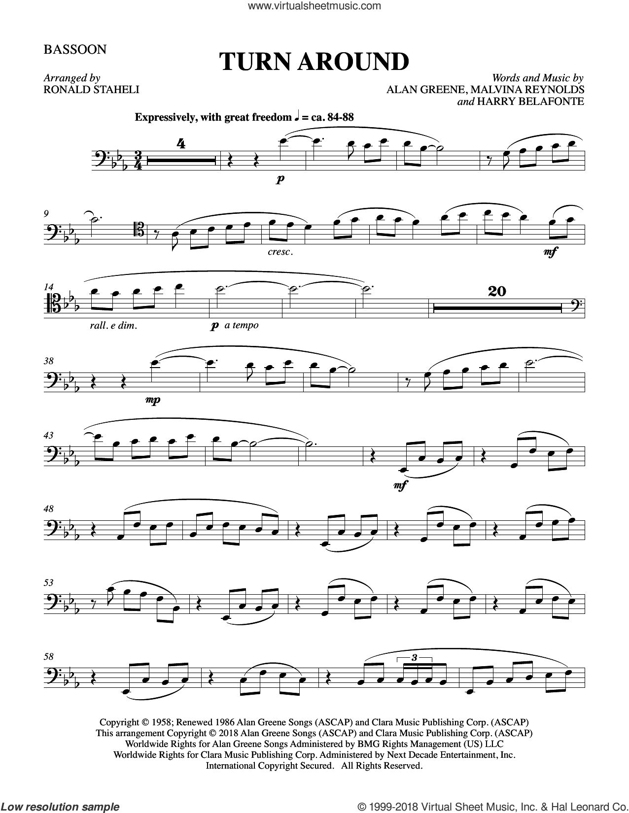 Turn Around (arr. Ronald Staheli) sheet music for orchestra/band (bassoon) by Malvina Reynolds, Harry Belafonte, Sonny & Cher and Alan Greene, intermediate skill level