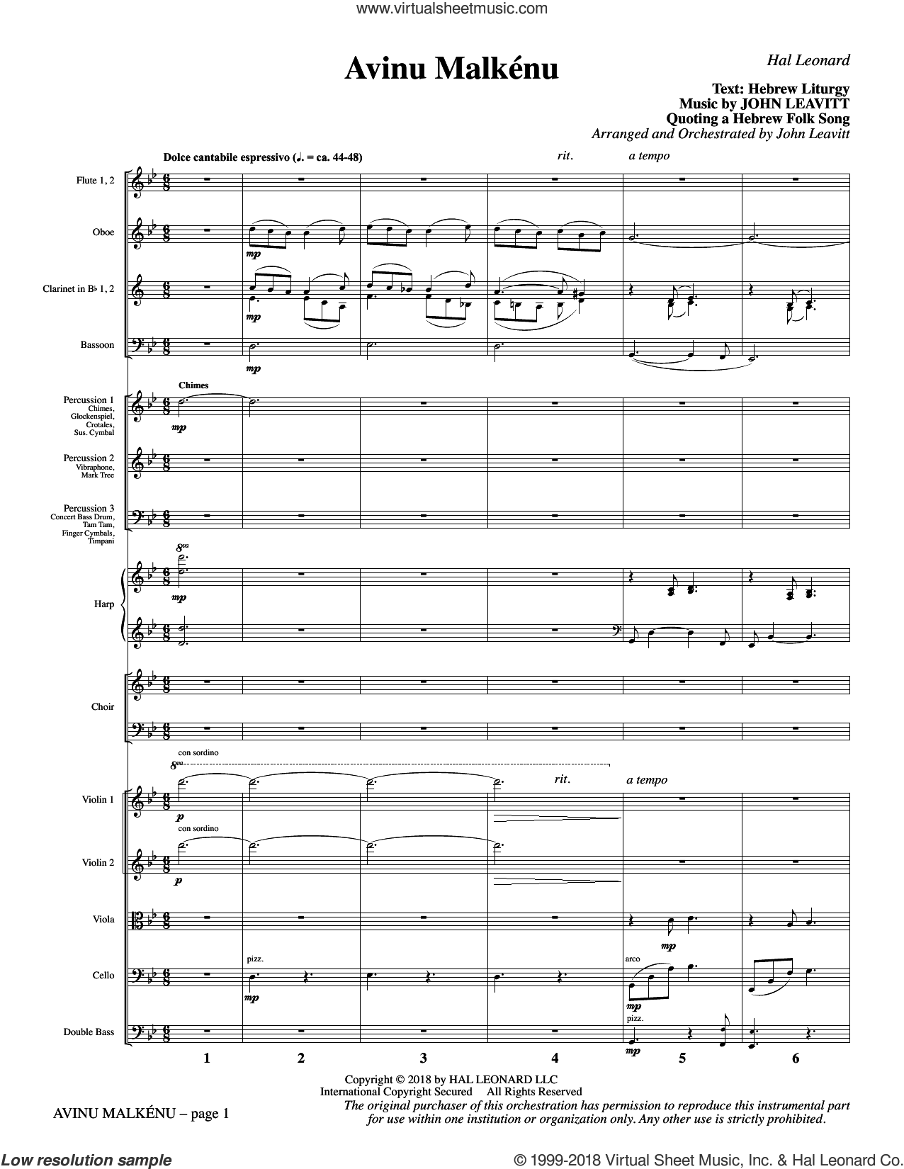 Avinu Malkenu (COMPLETE) sheet music for orchestra/band (chamber ensemble) by John Leavitt, Hebrew Liturgy and Jewish Folksong, intermediate skill level
