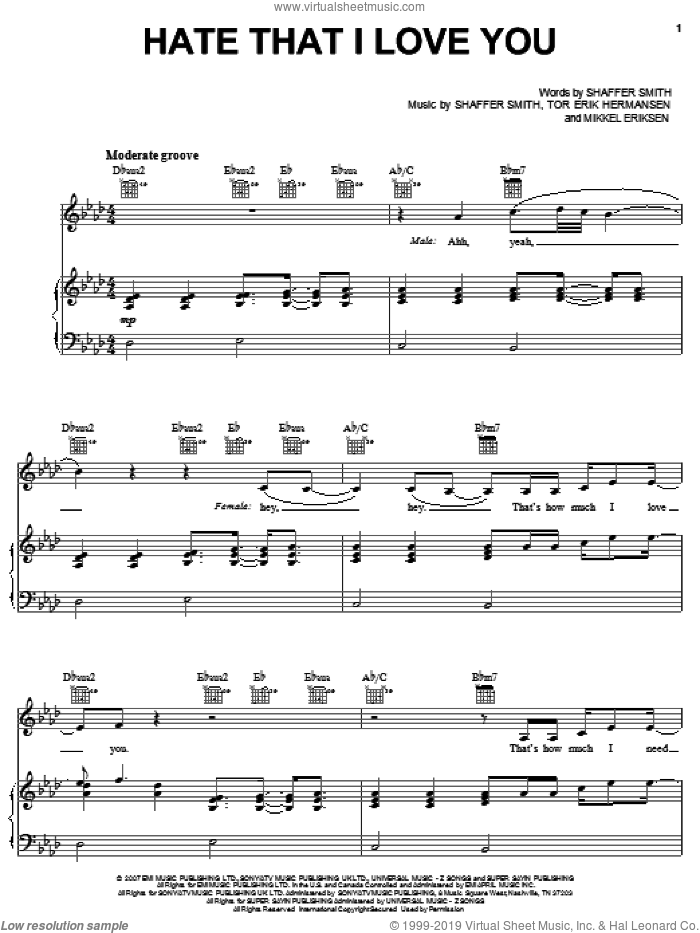 Hate That I Love You sheet music for voice, piano or guitar by Rihanna featuring Ne-Yo, Ne-Yo, Rihanna, Mikkel Eriksen, Shaffer Smith and Tor Erik Hermansen, intermediate skill level