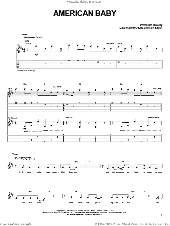 American Baby sheet music for guitar (tablature) by Dave Matthews Band and Mark Batson, intermediate. Score Image Preview.