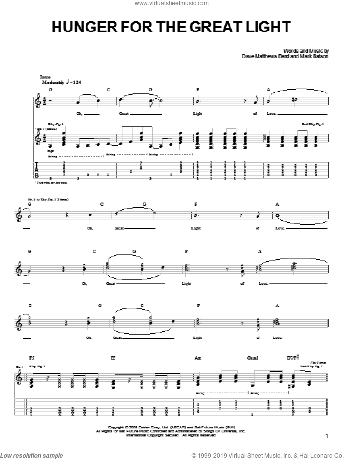Hunger For The Great Light sheet music for guitar (tablature) by Mark Batson and Dave Matthews Band. Score Image Preview.