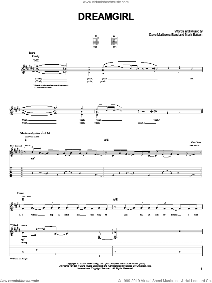 Dreamgirl sheet music for guitar (tablature) by Dave Matthews Band and Mark Batson, intermediate