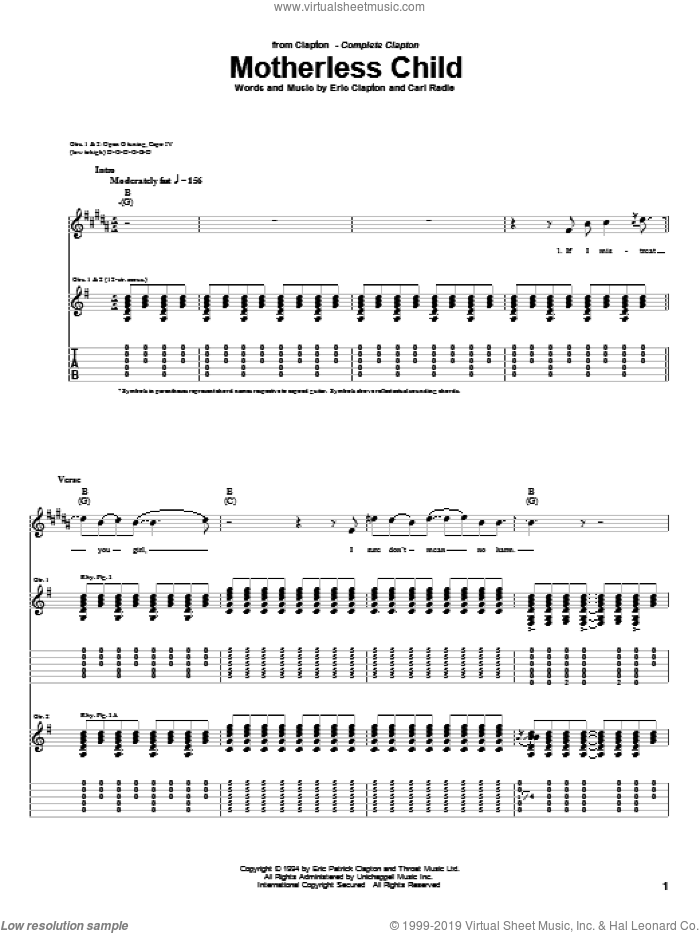 Motherless Child sheet music for guitar (tablature) by Eric Clapton and Carl Radle, intermediate. Score Image Preview.