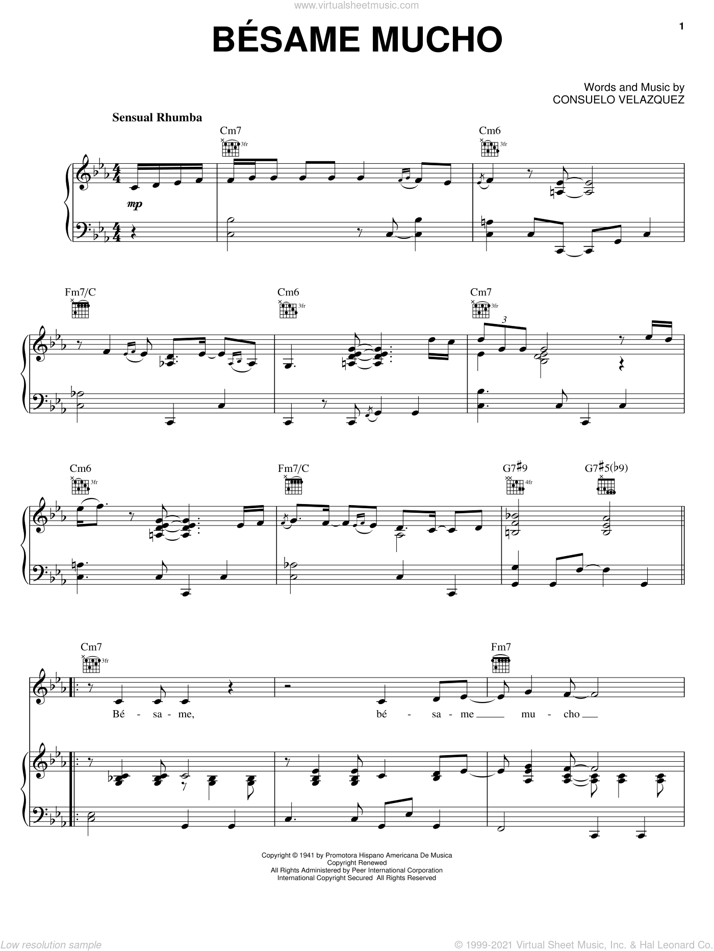 Besame Mucho (Kiss Me Much) sheet music for voice, piano or guitar by Andrea Bocelli, Consuelo Velazquez and Sunny Skylar, intermediate skill level