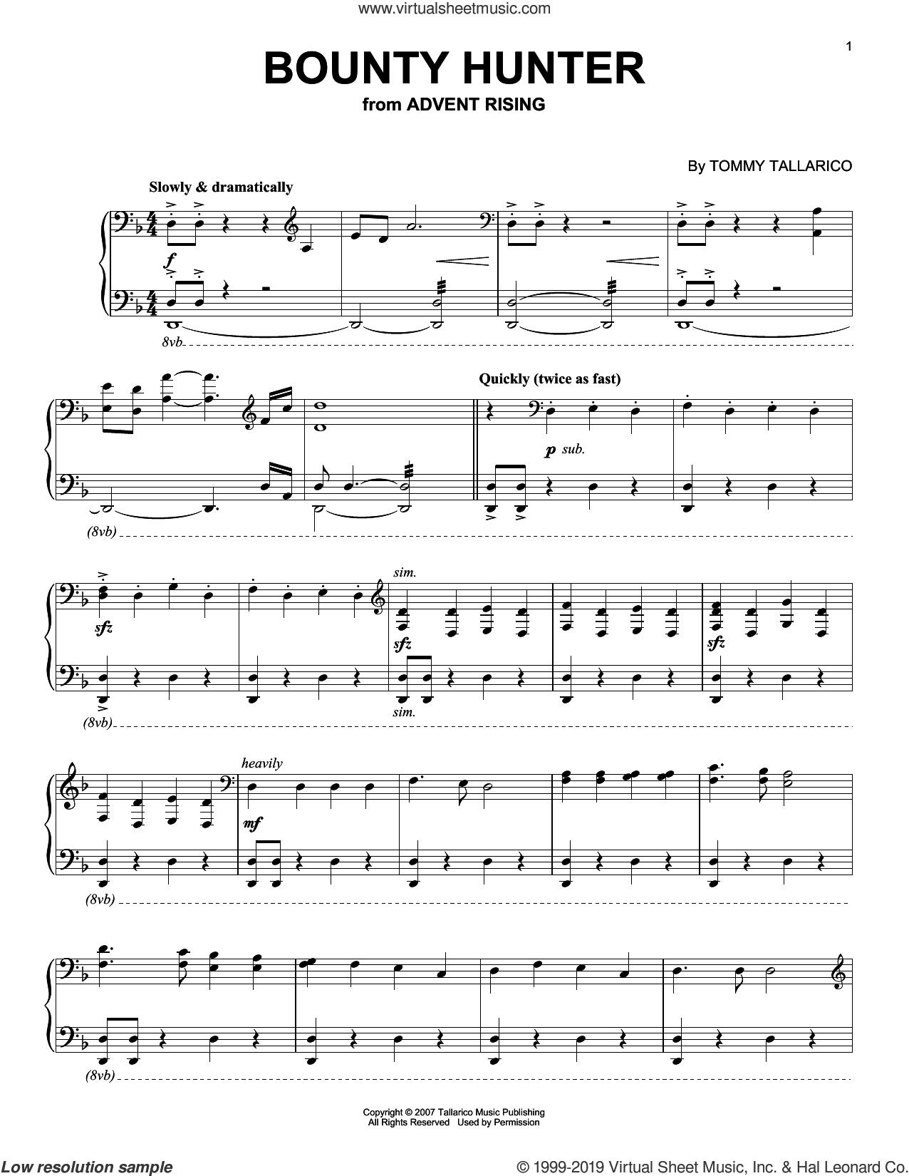 Bounty Hunter sheet music for piano solo by Tommy Tallarico, intermediate skill level