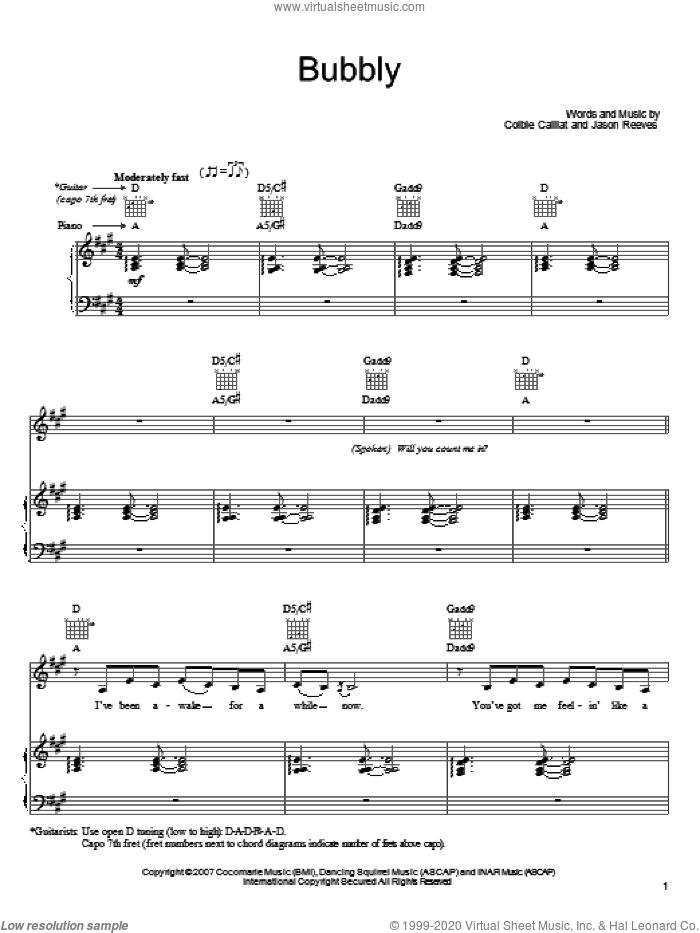 Bubbly sheet music for voice, piano or guitar by Jason Reeves