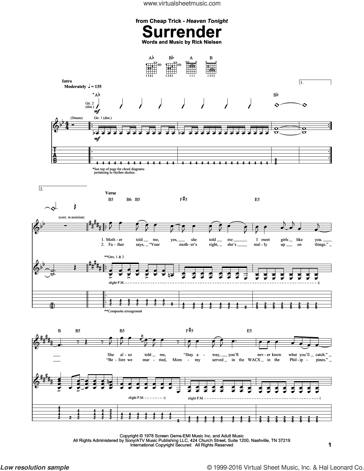 Surrender sheet music for guitar (tablature) by Rick Nielsen and Cheap Trick. Score Image Preview.