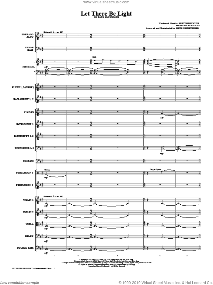 Let There Be Light (COMPLETE) sheet music for orchestra/band (Orchestra) by Keith Christopher, Marie Reynolds and Scott Krippayne, intermediate skill level