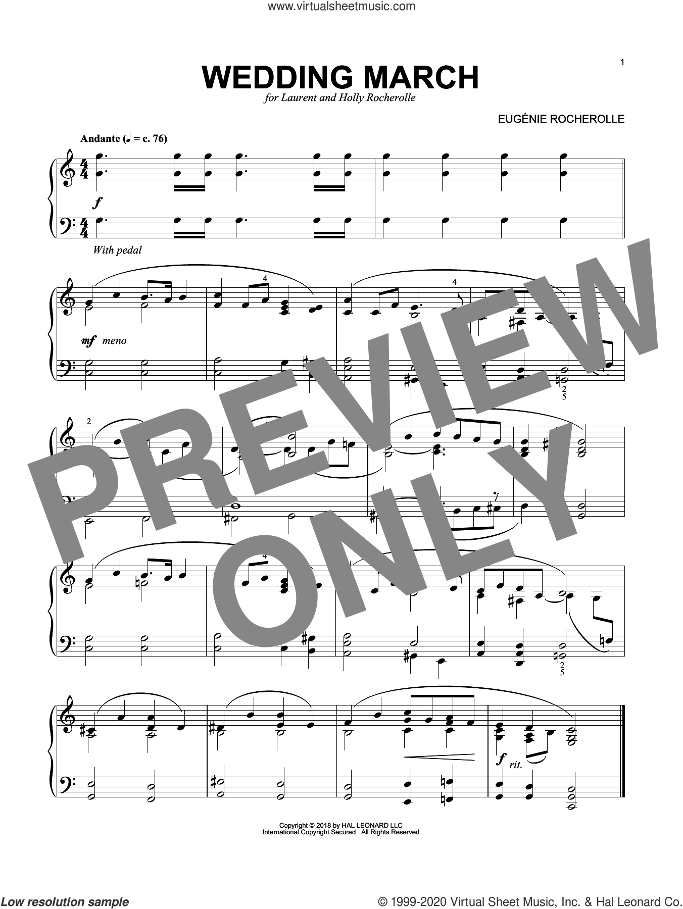 Wedding March sheet music for piano solo by Eugenie Rocherolle, wedding score, intermediate skill level