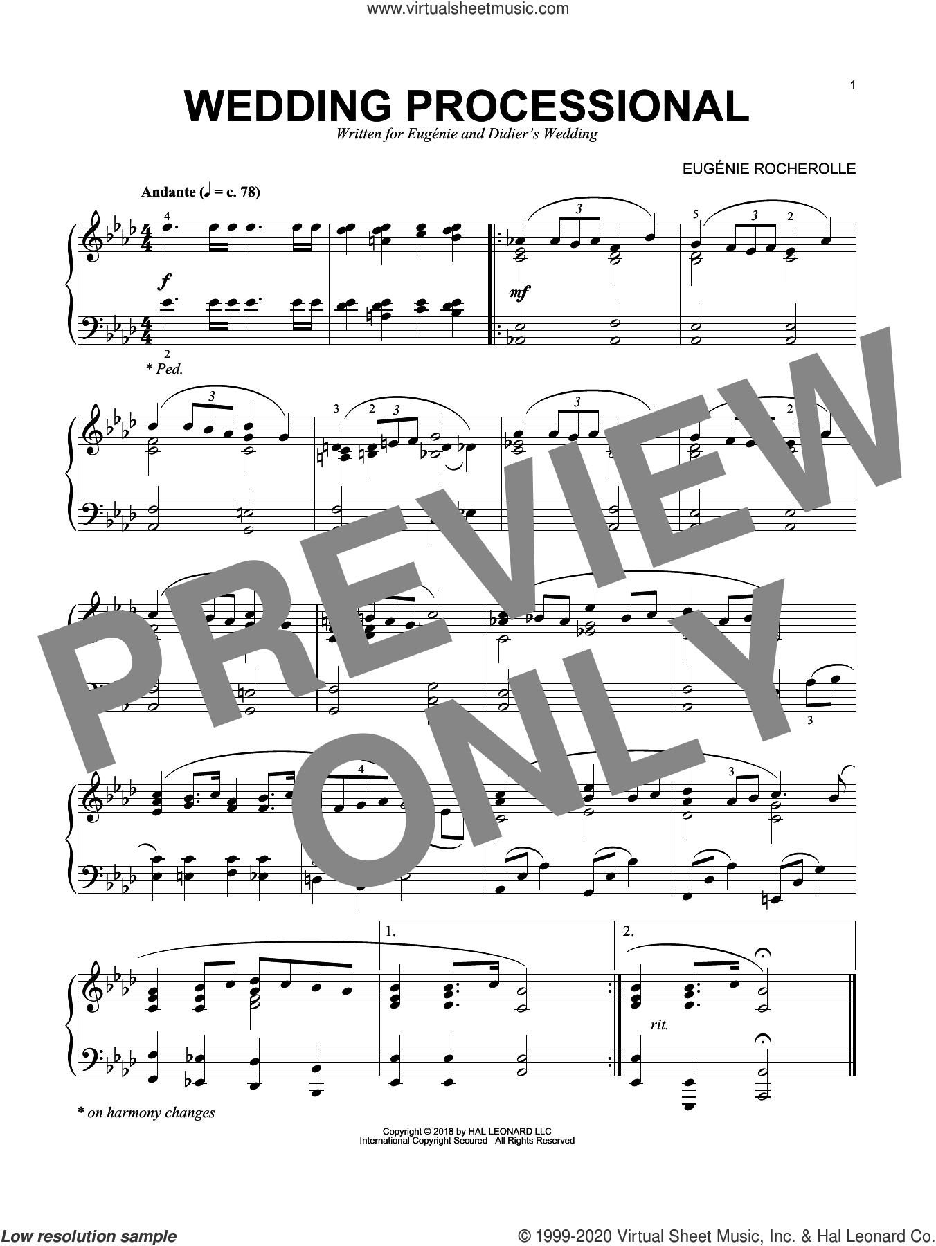 Wedding Processional sheet music for piano solo by Eugenie Rocherolle, wedding score, intermediate skill level