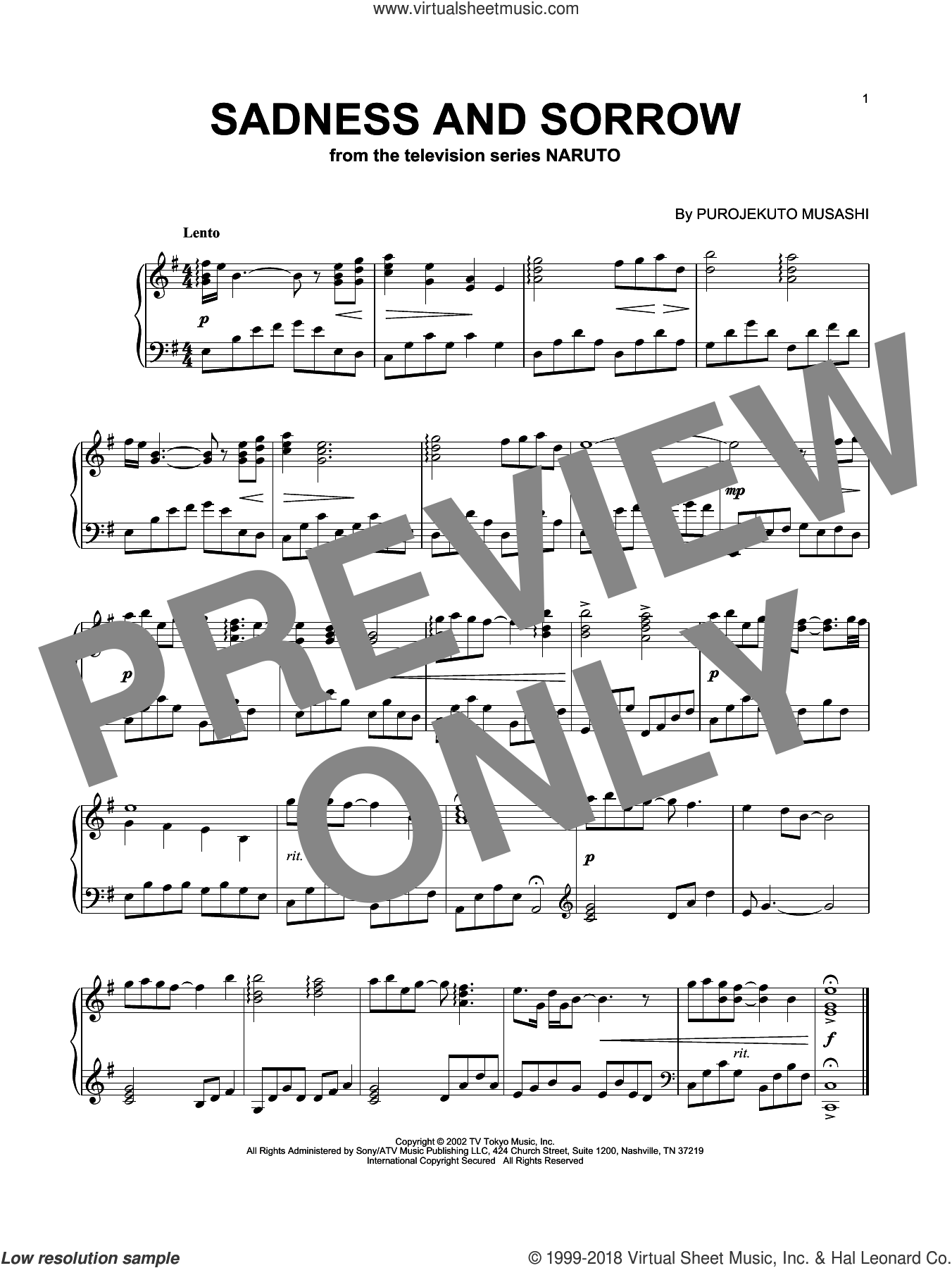 Sadness And Sorrow (from Naruto), (intermediate) sheet music for piano solo by Taylor Davis and Purojekuto Musashi, intermediate skill level