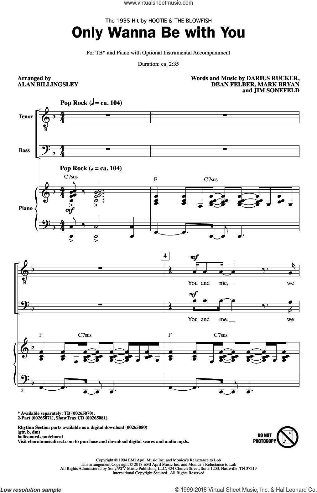 Only Wanna Be With You (arr. Alan Billingsley) sheet music for choir (TB: tenor, bass) by Hootie & The Blowfish, Alan Billingsley, Darius Carlos Rucker, Everett Dean Felber, James George Sonefeld and Mark William Bryan, intermediate skill level