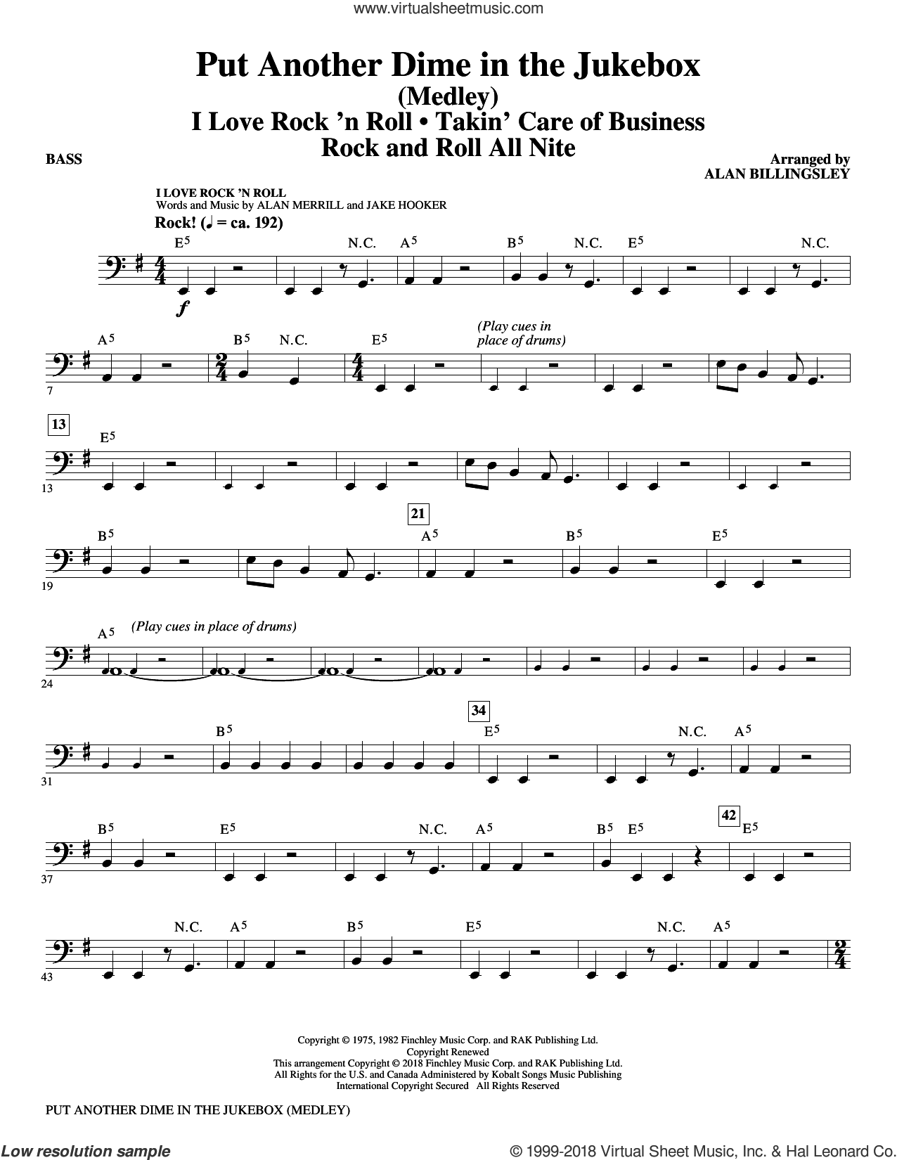 Put Another Dime In The Jukebox (Medley) sheet music for orchestra/band (bass) by Alan Billingsley, Alan Merrill and Jake Hooker, intermediate skill level