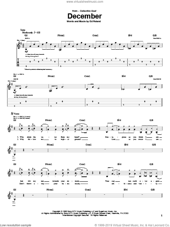 December sheet music for guitar (tablature) by Collective Soul and Ed Roland, intermediate skill level
