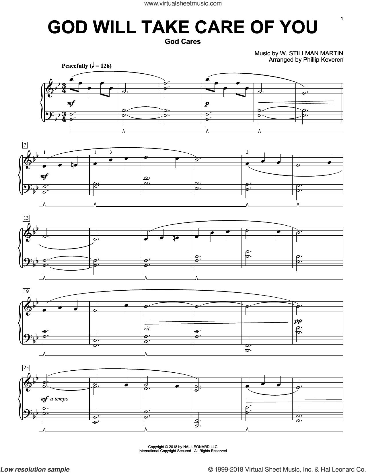 God Will Take Care Of You (arr. Phillip Keveren) sheet music for piano solo by Civilla D. Martin, Phillip Keveren and W. Stillman Martin, intermediate skill level