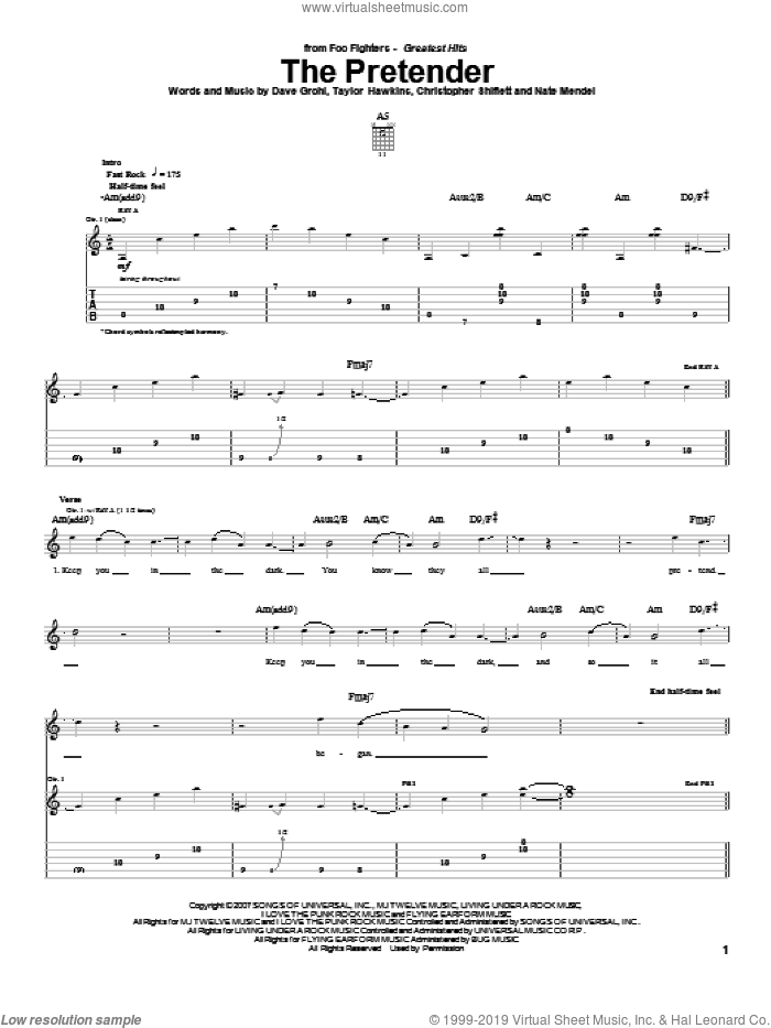 The Pretender sheet music for guitar (tablature) by Taylor Hawkins, Foo Fighters, Dave Grohl and Nate Mendel. Score Image Preview.
