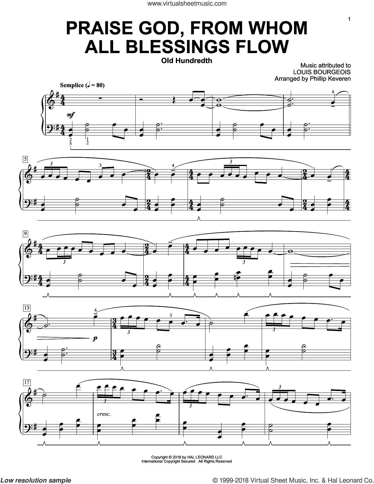 Praise God, From Whom All Blessings Flow (arr. Phillip Keveren) sheet music for piano solo by Thomas Ken, Phillip Keveren and Louis Bourgeois, intermediate skill level