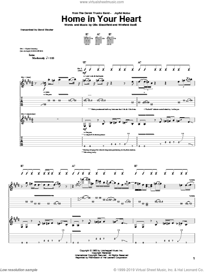 Home In Your Heart sheet music for guitar (tablature) by Winfield Scott and The Derek Trucks Band. Score Image Preview.