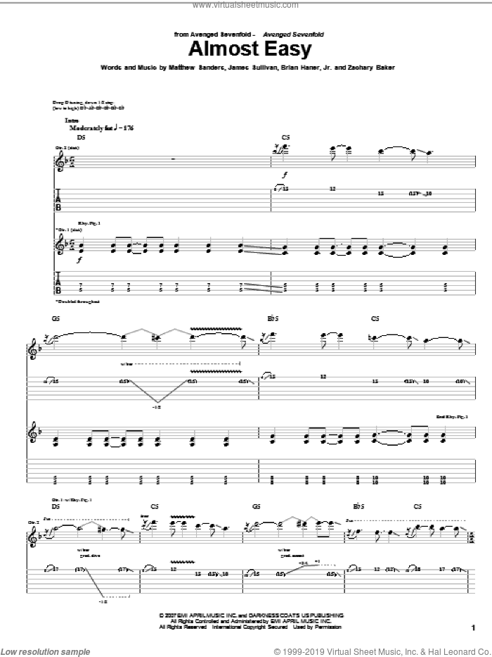 Almost Easy sheet music for guitar (tablature) by Avenged Sevenfold, Brian Haner, Jr., James Sullivan, Matthew Sanders and Zachary Baker, intermediate skill level
