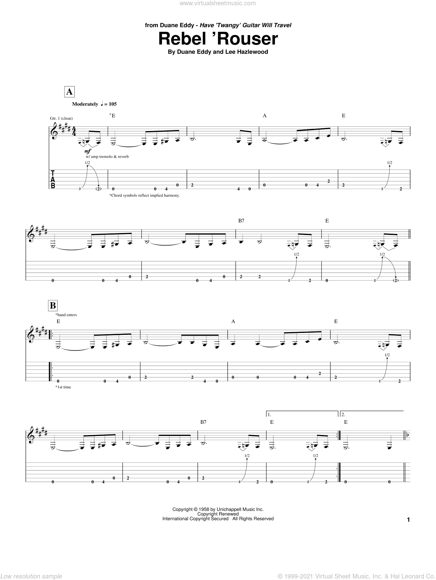 Rebel 'Rouser sheet music for guitar (tablature) by Duane Eddy and Lee Hazlewood, intermediate skill level