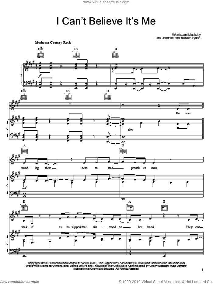 I Can't Believe It's Me sheet music for voice, piano or guitar by Rockie Lynne, intermediate voice, piano or guitar. Score Image Preview.
