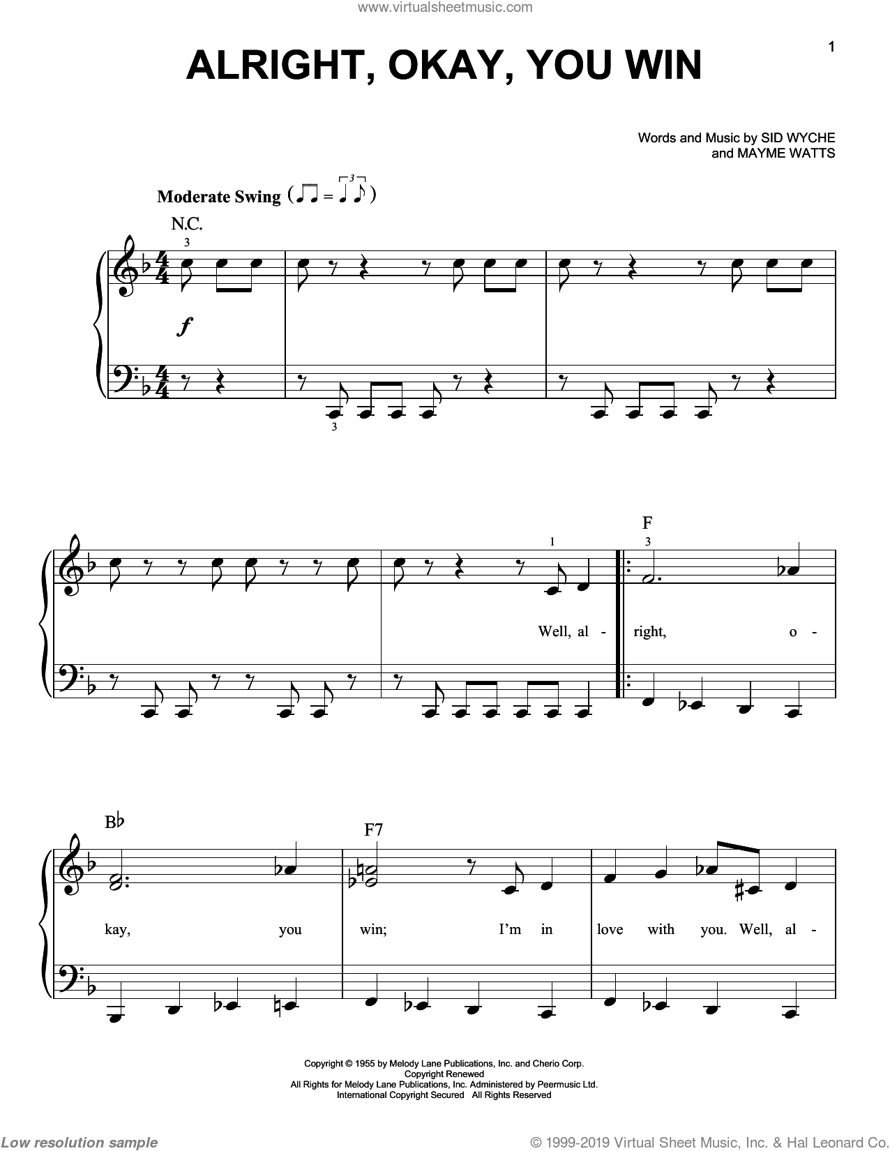 Alright, Okay, You Win sheet music for piano solo by Peggy Lee, Mayme Watts and Sid Wyche, easy skill level