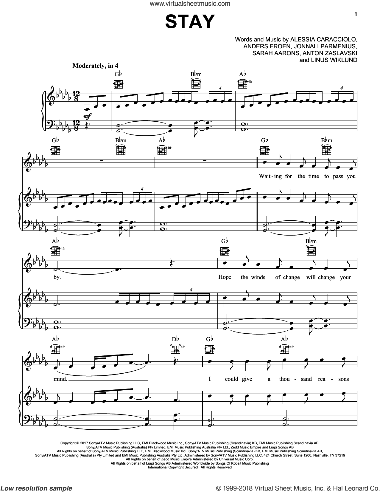 Stay sheet music for voice, piano or guitar by Pentatonix, Alessia Cara feat. Zedd, Alessia Caracciolo, Anders Froen, Anton Zaslavski, Jonnali Parmenius, Linus Wiklund and Sarah Aarons, intermediate skill level