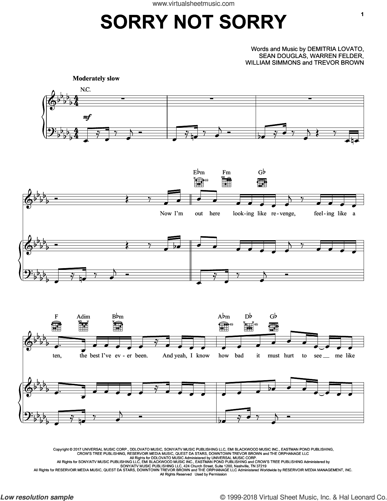 Sorry Not Sorry sheet music for voice, piano or guitar by Pentatonix, Demi Lovato, Sean Douglas, Trevor Brown, Warren Felder and William Simmons, intermediate skill level