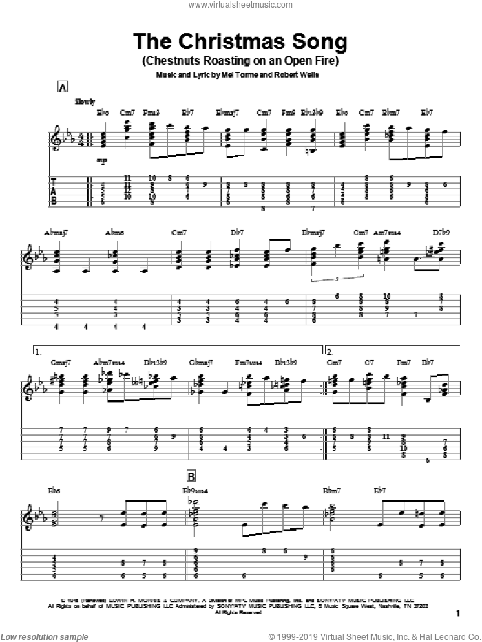 The Christmas Song (Chestnuts Roasting On An Open Fire) sheet music for guitar (tablature) by Mel Torme, Jeff Arnold and Robert Wells, intermediate. Score Image Preview.