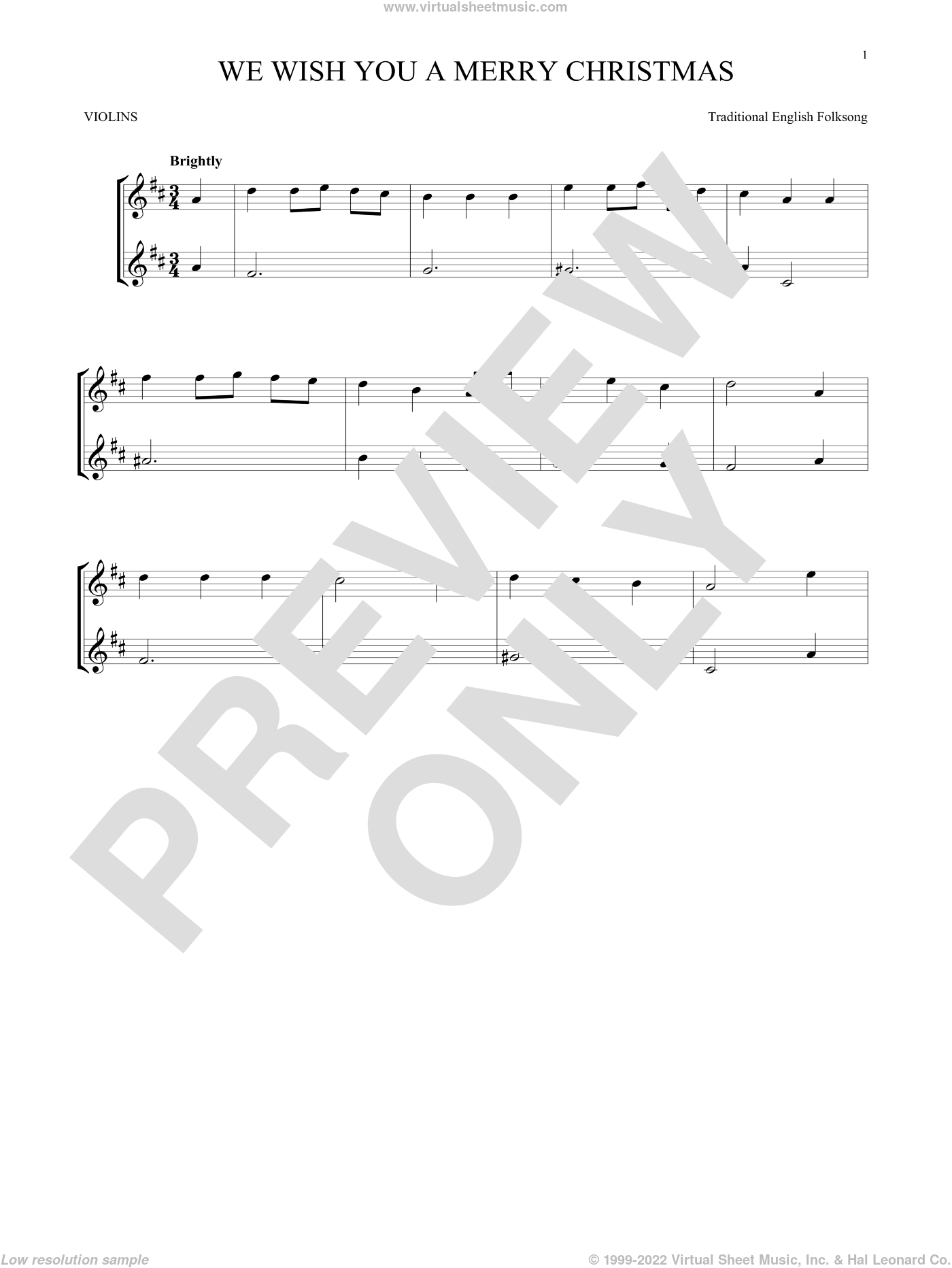 We Wish You A Merry Christmas sheet music for two violins (duets, violin duets), intermediate skill level
