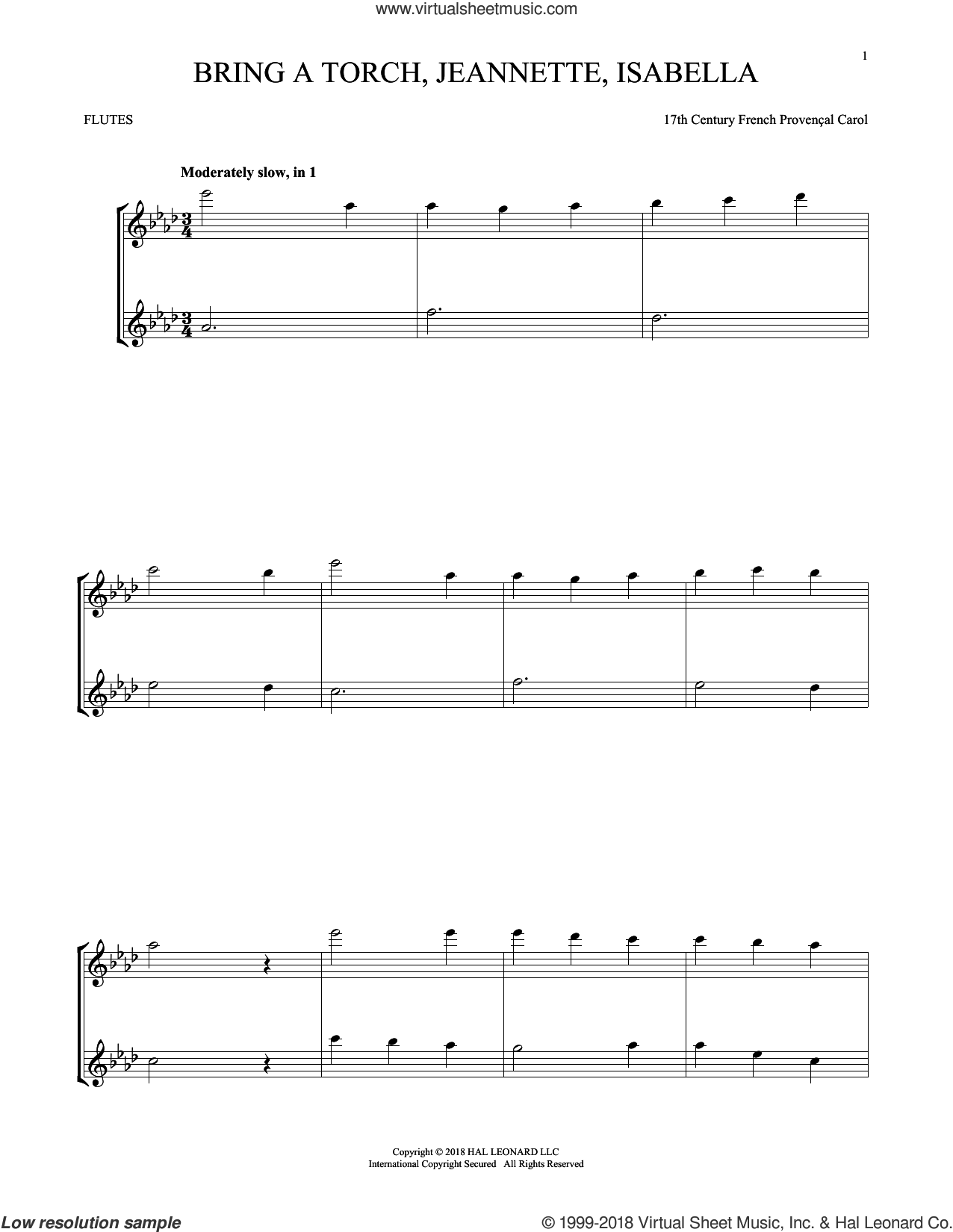 Bring A Torch, Jeannette, Isabella sheet music for two flutes (duets) by Anonymous and Miscellaneous, intermediate skill level