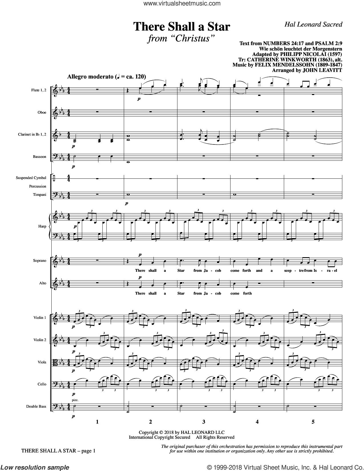 There Shall a Star (COMPLETE) sheet music for orchestra/band by Felix Mendelssohn-Bartholdy and John Leavitt, intermediate skill level